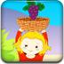 女孩接水果